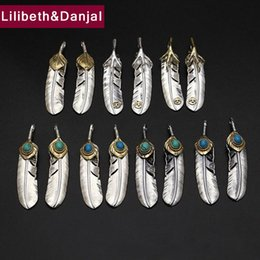 $enCountryForm.capitalKeyWord Australia - ashion Jewelry Pendants Goro takahashi Pendant 100% Real 925 Sterling Silver Natural Stone Feather Necklace Pendant for Men Women fine je...