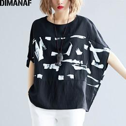 Plus Size Batwing Printed Shirt Australia - Dimanaf Plus Size Women T-shirts Cotton Lady Tops Tees Big Size Vintage Female Print Spliced Loose Batwing Shirt Summer 5xl 6xl Y19060601