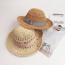Discount straw hat crochet girl - 2019 Summer Children Bow Simple Handmade Hat Crochet Hollow Large Brimm Straw Hat Boys Girls Beach Hats Sun Hat Wholesal