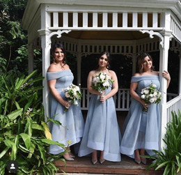 navy organza bridesmaid dresses NZ - Elegantl Sleeveless Blue Long Off Shoulder Bridesmaid Dresses Plus Size Robes de soirée High Low Organza Bridal Party Gowns for Women