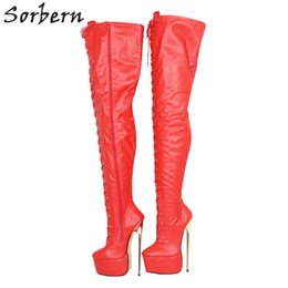 RubbeR thigh length boots online shopping - Red Matte Mid Thigh Boots For Women Metal High Heels Custom Shaft Length Width Thick Platform Shoe Long Boot Ladies Big