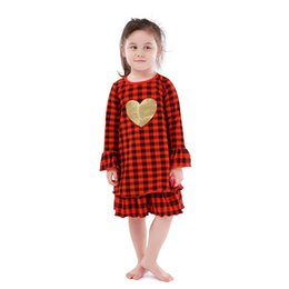 Wholesale New Girl Long Sleeve Dresses for Autumn Dresses with Red and Black Chequered Children s Skirts on Valentine s Day in Europe and America