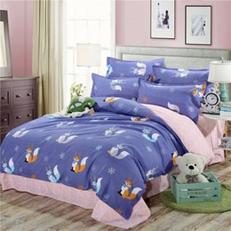 kids cartoon bedding set queen size NZ - New Purple Little Fox Printed Bedding Set Kids Cartoon Queen King Size Bed Linen 3 4pcs Flower Duvet Cover Flat Sheet Pillowcase