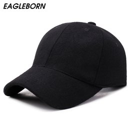 Felt balls wholesale online shopping - Winter Baseball Cap Men Solid Color Simple Felt Casual Baseball Cap Sports Fashion Snapback Black Red Hat Women