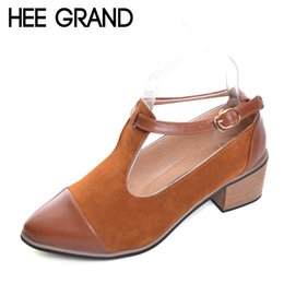 $enCountryForm.capitalKeyWord Australia - Designer Dress Shoes Hee Grand Pointed Toe Pumps British Style Med Heels Patchwork T-strap Oxfords Woman Casual Vintage Pump Xwd2469