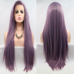 Wig Purple Mixed Australia - Mix Lavender Purple Straight Synthetic Lace Front Wig Heat Resistant Fiber Hair Natural Hairline Side Part For Women