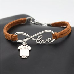 $enCountryForm.capitalKeyWord Australia - Fashion Infinity Love Cute Baby Short Sleeve Clothes T-shirt Romper Pendant Bracelets Brown Leather Suede Rope Bangles for Women Men Jewelry