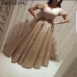 2dc6b2ea9936e Sparkly Rose Gold Sequins Yousef Aljasmi Evening Dresses Dubai Saudi Arabia  Prom Dress with Sleeves 2019 Long Formal Party