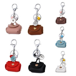 noosa ginger snap buttons Australia - Noosa Ginger 18mm Snap Button Keychains Lobster Clasp Snap Keychain Mini Leather Bag Jingle Bells Charms Car Key chain Key Rings 4