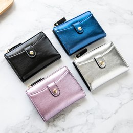 silver snap fasteners UK - Lady Snap Fastener Short Clutch Wallet Vintage Matte Women Wallet Fashion Small Female Purse short Coin Card Holder