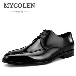 brown casual dress shoes for men 2019 - MYCOLEN 2019 Luxury Fashion Men Shoes Minimalist Design Casual Derby Shoes For Men Pointed Toe Dress Wedding cheap brown