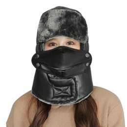 New Winter Warm Bomber Hats Caps Scarf Women Men Russian Trapper Hat  Thermal Trooper Earflap Snow Ski Hat Cap with Face Mask trapper hat mask on  sale ff744b2a64ee