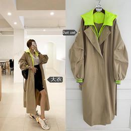 Korean Style Long Sleeve Loose Female Hooded Long Coat Women Oversized Trench Coat Retro Frock Windbreaker on Sale