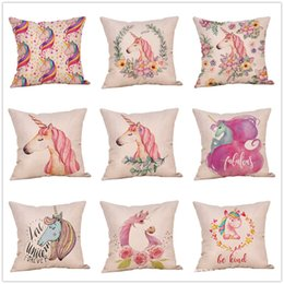 $enCountryForm.capitalKeyWord Australia - 9styles unicorn pillow case cartoon printed animal floral pillow cover pillow cushion home car decor party favor 45*45cm FFA1815
