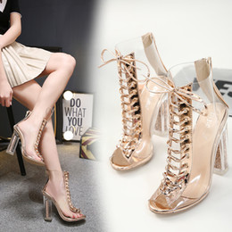 Cross Bandage High Heel Australia - Sunshine2019 Pvc Permeation Seasonal Bandage Crystal High-heeled Cool Boots With Sandals Woman Shoes
