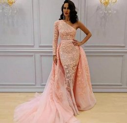 $enCountryForm.capitalKeyWord Australia - Elegant Arabic Mermaid Dresses Evening Wear With Detachable Overskirt Court Train New 2019 Sexy One Shoulder Lace Blush Pink Prom Dress