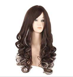 anime curly hair UK - European and American fashion wig Harajuku style anime character female growth curly hair fake hood brown highlighting white long hair hood