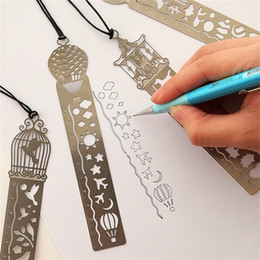 Bookmark Ruler Australia - 2019 Cute Kawaii Creative Horse Birdcage Hollow Metal Bookmark Ruler For Kids Student Gift School Supplies Free Shipping