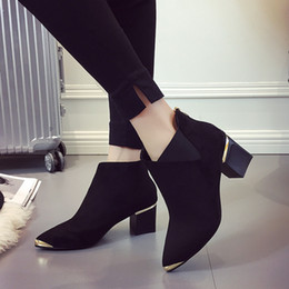 ElEgant bEigE shoEs online shopping - Fashion Sexy Women Boots Short Boots Martin Boots Ankle Autumn New Pointed Metal Elegant Casual Shoes Woman Non slip