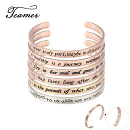 gold bracelet for engraving Canada - Teamer Stainless Steel Jewelry Women Bangles Magnetic Engraved Inspirational Letter Rose Gold Open Cuff Bracelet for Men Gifts