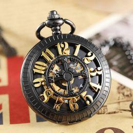 Digital clock numbers online shopping - Retro Bronze Hollow Digital Number Dial Mechanical Pocket Watch Waist Chain Vintage Steampunk Classical Mens Clock Pocket Watch