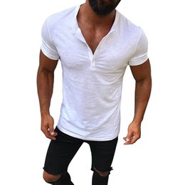 muscle fit white t shirt 2019 - Men's Slim Fit V Neck Short Sleeve Muscle Tee T-shirt Casual Tops Shirts Solid Fashion Button Tee Fashion Summer Cl