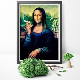 Modular hoMes online shopping - Canvas Painting Print Funny Wall Art Mona Lisa Smoking Joint Poster Home Decoration Modular Nordic Modular Picture Living Room