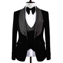 $enCountryForm.capitalKeyWord UK - New Popular Black Groom Tuxedos Shawl Lapel One Button Men Suits Wedding Prom Dinner Best Man Blazer(Jacket+Vest+Pants)