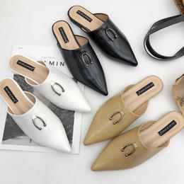 Ring Slides Australia - 2018 pointed toe mules shoes women metal ring decoration babouche summer slides comfortable flat beach slides gladiator sandals