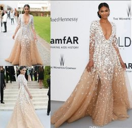 Zuhair Murad Lace Dress White Australia - Zuhair Murad 2019 Champagne Tulle Prom Gowns Celebrity Dresses with Long Seeves Sexy Deep V neck Lace White Applique Formal Evening Dresses
