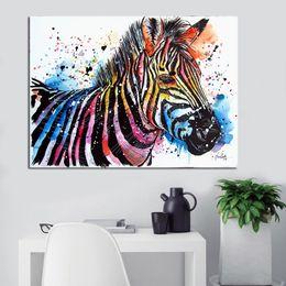 Zebra Print Art Australia - 1 Pcs Animal Wall Canvas Art Zebra Print Posters Art for Living Room Cuadros Decoracion Canvas Painting Home Decor No Frame
