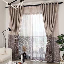 kitchen curtains designs 2020 - Modern Floral Printed Blackout Curtains for Living Room Pastoral Design Two-Tone Curtains for Bedroom Window Curtain Tre