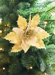 $enCountryForm.capitalKeyWord Australia - 6.69 Inch Glitter Artifical Wedding Christmas Flowers Glitter Poinsettia Christmas Tree Ornaments Poinsettias Artificial Flower Heads