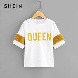 $enCountryForm.capitalKeyWord Australia - Kiddie White Faux Fur Embellished Colorblock Letter Print Girls Tee Shirts 2019 Summer Short Sleeve Casual Kids T Shirt