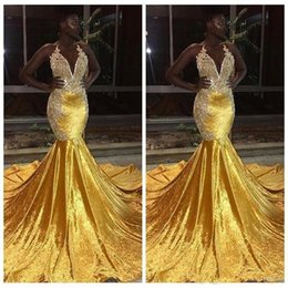 Collar dress pink laCe girl online shopping - 2019 Elegant Yellow Velvet Prom Dresses For Black Girl Long Mermaid Halter Lace Appliques Evening Gowns Backless Sweep Train Prom Wear