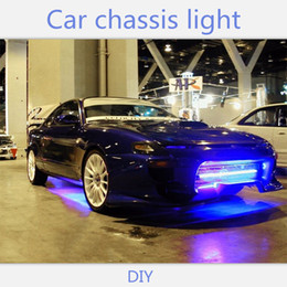 tube lights wholesale Canada - 4pcs Streamer Car Underglow Flexible Strip LED APP Control Decorative Atmosphere Lamp Under Tube Underbody System Neon Light Kit