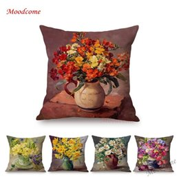 $enCountryForm.capitalKeyWord Australia - Vintage Flowers Decorative Pillow Cover Europe Cotton Linen Lily Rose Daffodils Ikebana Flower Art Oil Painting Cushion Cover