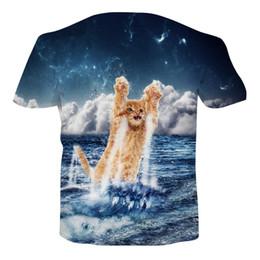 Kitten Shirts Australia - UNICOMIDEA 2019 Aliexpress 3D Printing Cheap Cute Kitten Seascape Print T- Shirt