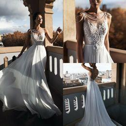 $enCountryForm.capitalKeyWord NZ - Boho A Line 2019 Beach Wedding Dresses Bridal Gowns A Line Sleeveless Beading Beaded Rhinestone Wedding Gowns Vestido De Novia