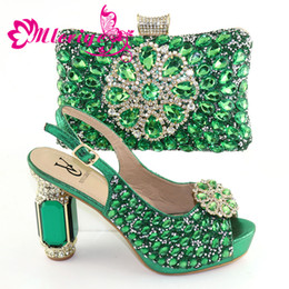 green italian shoes NZ - Shoes and Bag Sets for Women Ladies Shoes with Matching Bags Set African Wedding Italian Shoe and Bag Sets Shoe and Bag Slip-On