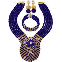 $enCountryForm.capitalKeyWord UK - Royal Blue Gold AB African Beads Jewelry Set Crystal Beaded Necklace Nigerian Wedding Pary Jewelry Gifts 6WDK01