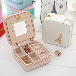 Portable Display Cases Wholesale Australia - Korean Creative Jewelry Box Organizer Travels Portable Leather Ring Bracelet Earring Display Storage Drawer Box Case with Mirror