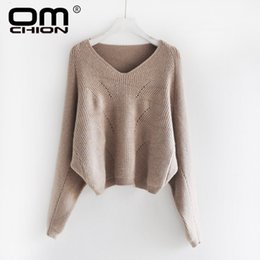 $enCountryForm.capitalKeyWord NZ - OMCHION Pull Femme 2019 Autumn Korean V Neck Knit Short Sweater Women Casual Batwing Sleeve Pullover Hollow Out Jumper LMY216
