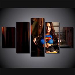 $enCountryForm.capitalKeyWord Australia - Sexy Female Superman,5 Pieces Home Decor HD Printed Modern Art Painting on Canvas (Unframed Framed)