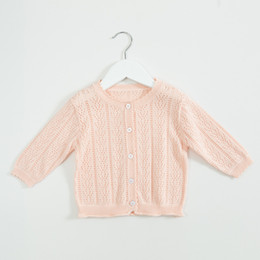 girls opening clothes UK - INS baby kids clothing sweater Solid Color Knitted Cardigan sweater 100% Cotton Boutique 100% cotton spring fall Girl sweater