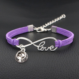 dog chain bracelet Canada - High quality Silver Infinity Love Top Dog Bowl Meat Bones Charm Bracelets purple Leather Wristband Jewelry For Women Men Best Gifts Pulsera