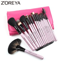 tool sets for women Australia - ZOREYA Brand Natural Kolinsky Hair Professional Cosmetic tool for women makeup brushes 18pieces set maquiagem fan brushes
