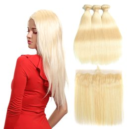 Brazilan Hair Australia - Brazilian Straight 613 Blonde Human Hair Weaves Unprocessed Brazilan Virgin Hair Bundles with Closure Straight Hair Extensions and Frontal
