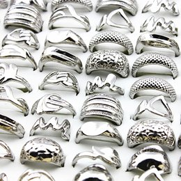 Punk Rings Australia - Wholesale Lots Bulk 50pcs Silver Ring Men Women Unisex Mixed Style Plating Individuality Retro Punk Jewelry Alloy Rings Brand C19041101
