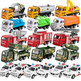 Toys police Truck online shopping - Hot Cars Model Toys Green Car Police Car Mixer Fire Truck Cement Truck Educational Toy Car ABS Shell Simulation Model